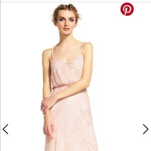 Adriana Papell blush beaded blouson dress